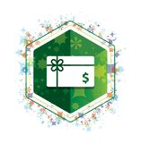 Prezent karty dolarowego znaka ikony rośliien wzoru zieleni sześciokąta kwiecisty guzik ilustracja wektor