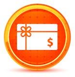 Prezent karty dolarowego znaka ikony round naturalny pomarańczowy guzik royalty ilustracja