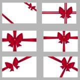 Prezent karty z łękami ustawiającymi Czerwony łęk na karcie, projekt łęk dla listowej ilustraci Zdjęcie Royalty Free