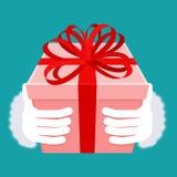 Prezent na bożych narodzeniach Santa pudełko z łękiem i ręka Czerwona taśma i yel Zdjęcia Royalty Free