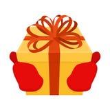 Prezent na bożych narodzeniach Santa pudełko z łękiem i rękawiczki Czerwona taśma i y Zdjęcia Stock