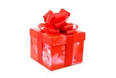 prezent niespodzianka czerwona tasiemkowa zdjęcie royalty free