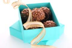 prezent pudełkowata czekoladowa trufla zdjęcie stock