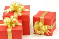 prezent pudełkowata czerwień trzy Obrazy Royalty Free