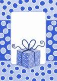 Prezent pudełkowatej ramy zaproszenia snowing karta royalty ilustracja