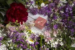 Prezent w kartonowym menchii pudełku wokoło menchii, bzu i czerwień kwiatów, mnóstwo, Zdjęcia Royalty Free