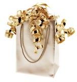 prezent złota torba wstążki Obrazy Stock