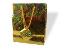 prezent złota torba zdjęcie stock