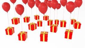 Prezent z wiele ballons Obrazy Stock