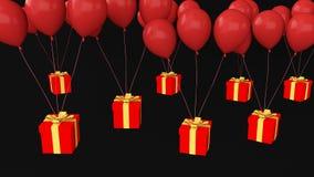 Prezent z wiele ballons Zdjęcia Stock