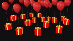 Prezent z wiele ballons Obrazy Royalty Free