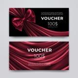Prezenta alegata projekta szablon Set premii promocyjna karta z realistycznym zmrokiem - czerwony łęk i jedwab odizolowywający na Zdjęcie Stock