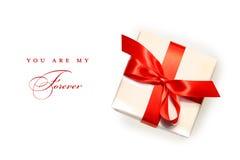 prezenta biel odosobniony mały czerwony Obraz Royalty Free