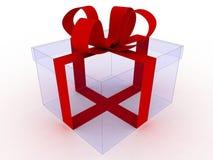 prezenta czerwony tasiemkowy przejrzysty Zdjęcie Royalty Free