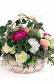 prezenta kosz kwiatu whith róż peoni hortensja odizolowywająca Fotografia Stock