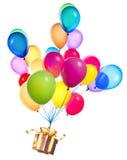 Prezenta obwieszenie na kolorów balonach Obraz Stock