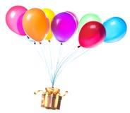 Prezenta obwieszenie na kolorów balonach Zdjęcia Stock