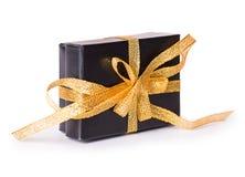 Prezenta pudełka łęku czerni kolor żółty Zdjęcia Stock