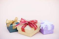 Prezenta pudełka wystrój dla tła s i kopii nowego roku i bożych narodzeń Fotografia Stock