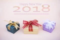 Prezenta pudełka wystrój dla tła s i kopii nowego roku i bożych narodzeń Zdjęcia Royalty Free