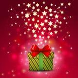 Prezenta pudełko i błyszcząca gwiazda na magicznym czerwonym brzmienia tle, wektorze & ilustraci, royalty ilustracja