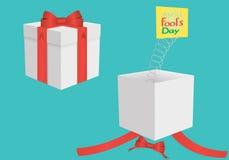 Prezenta pudełko od 1st Kwiecień Obrazy Royalty Free