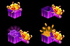 Prezenta pudełko otwarty i zamknięty Kreskówka isometric prezent z monetami i klejnotami, wektorowe premiowe ikony dla UI gry zas royalty ilustracja