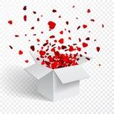 Prezenta pudełko teraźniejszy z komarnic serc walentynki ` s dnia wektoru ilustracją Obrazy Stock