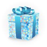 Prezenta pudełko z dzieciństwo elementami: bicykl, kwiaty, balony, łódź, serce, słońce, chmury i tasiemkowy łęk, Obraz Royalty Free