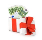 Prezenta pudełko z euro banknotami obraz stock