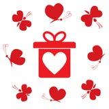 Prezenta pudełko z sercem i latającymi motylami, płaski projekt Walentynki `s dzień wzór Rocznica, urodziny Miłość momentu cukier ilustracja wektor