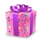 Prezenta pudełko z tasiemkowym łękiem i kolorowi płatki śniegu dla wakacyjnych bożych narodzeń i Szczęśliwego nowego roku Obrazy Stock