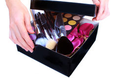 Prezenta pudełko z makeup inside Obraz Stock
