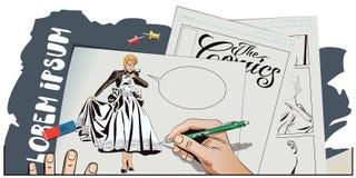 Prezentaci template Dziewczyny przyglądająca ślubna toga ilustracji