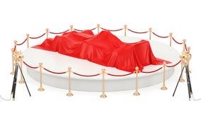 Prezentacja bieżnego samochodu pojęcie, podium z bolid zakrywającym czerwonym płótnem, krąży wokoło, animaci pojęcie świadczenia  royalty ilustracja