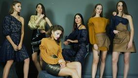 Prezentacja, luksusowi kobieta modele z perfect makeup i skóra pozuje na tle zmrok ściana indoors, zdjęcie wideo