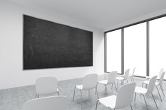 Prezentacja pokój w, sala lekcyjna lub Biel krzesła, panoramiczni okno z biel kopii przestrzenią i ilustracji