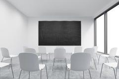 Prezentacja pokój w, sala lekcyjna lub Biel krzesła, panoramiczni okno z biel kopii przestrzenią i royalty ilustracja
