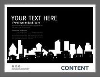 Prezentacja projekta szablon, miasto budynki i nieruchomości pojęcie, Wektorowy nowożytny tło ilustracji