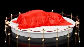 Prezentacja samochodowy pojęcie, podium z samochód zakrywającym czerwonym płótnem, krąży wokoło, animaci pojęcie świadczenia 3 d ilustracji