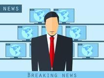 Prezenteru telewizyjnego obsiadanie przy biurkiem Wiadomość dnia, pracowniany reporter Prezenter telewizyjny wyemitowana wiadomoś ilustracja wektor