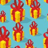 prezenty deseniują bezszwowego Żółty prezenta pudełko, łęk i Zdjęcie Stock