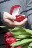 Prezenty dla nasi bliskich Mężczyzna trzymają bukiet czerwoni tulipany w jej ręce W innej ręce, otwarty aksamita pudełko czerwony Zdjęcie Royalty Free