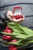 Prezenty dla nasi bliskich Mężczyzna trzymają bukiet czerwoni tulipany w jej ręce W innej ręce, otwarty aksamita pudełko czerwony Zdjęcia Royalty Free
