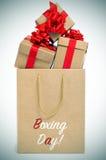 Prezenty i papierowa torba z teksta drugim dniem świąt bożego narodzenia, vignetted Zdjęcie Stock