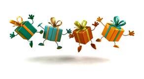 prezenty szczęśliwi Obraz Royalty Free