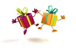 prezenty szczęśliwi Zdjęcia Royalty Free