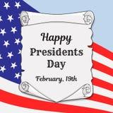 Prezydenci dni w USA kartka z pozdrowieniami, sztandarze lub Antyczna ślimacznica z gratulacyjną inskrypcją na tle flaga ilustracja wektor