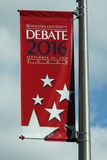 Prezydencki debata 2016 sztandar przy Hofstra uniwersytetem w Hempstead, Nowy Jork Obrazy Royalty Free