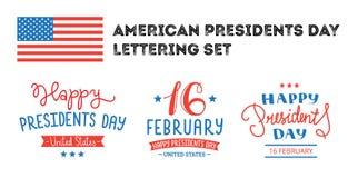 Prezydentów dni ręki literowania etykietki royalty ilustracja